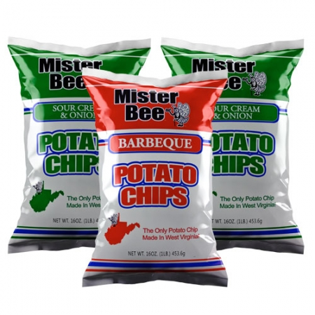 16 ounce 1 quantity barbeque chips, 16 ounce 2 quantity sour cream and onion chips