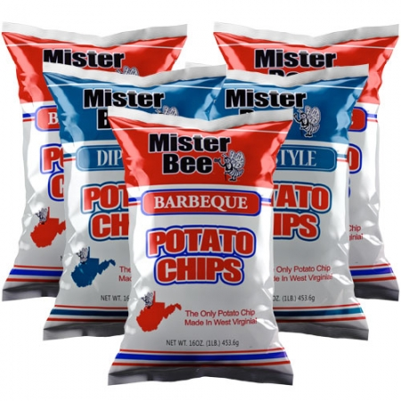 16 ounce 3 quantity barbeque chips, 16 ounce 2 quantity dip style potato chips