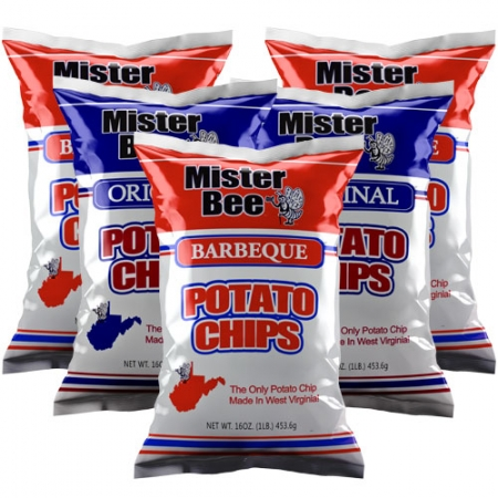 16 ounce 3 quantity barbeque chips, 16 ounce 2 quantity potato chips