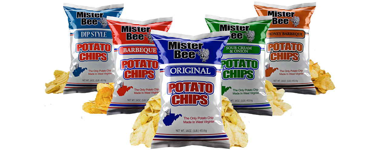 Dip style, barbeque, original, sour cream and onion, and honey barbeque chips