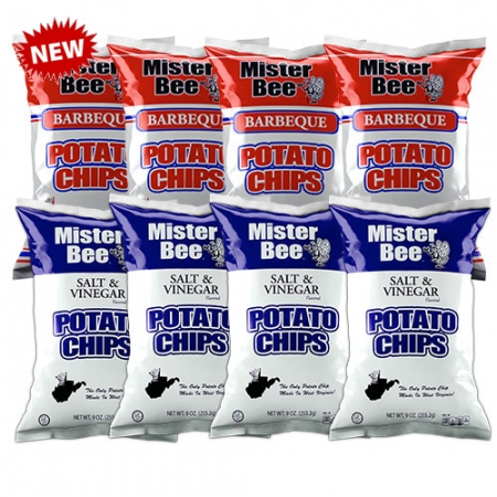 Mister Bee barbeque and salt & vinegar potato chips: 8 bags