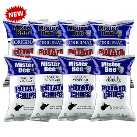 Mister Bee original and salt & vinegar potato chips: 8 bags