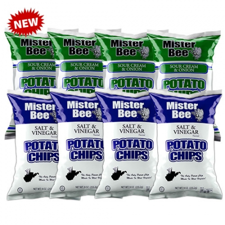 Mister Bee sour cream & onion and salt & vinegar potato chips: 8 bags