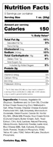 Cheddar and sour cream nutrition facts