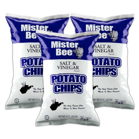 Mister Bee salt & vinegar potato chips: 3 bags